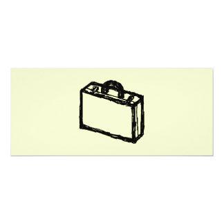 """Bosquejo del caso. Negro y crema. Maleta, cartera Invitación 4"""" X 9.25"""""""