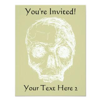 """Bosquejo del cráneo. Blanco Invitación 4.25"""" X 5.5"""""""