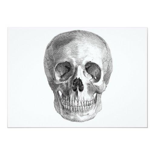 """¡Bosquejo del cráneo perfecto para las necesidades Invitación 5"""" X 7"""""""
