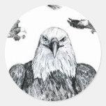 Bosquejo del dibujo de lápiz del collage de Eagle Etiqueta Redonda