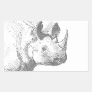 Bosquejo del dibujo de lápiz del rinoceronte del pegatina rectangular