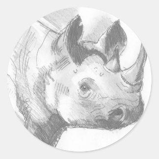 Bosquejo del dibujo de lápiz del rinoceronte del pegatina redonda