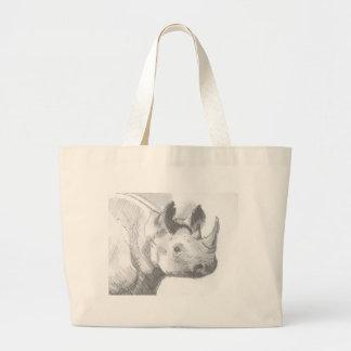 Bosquejo del dibujo de lápiz del rinoceronte del r bolsas de mano