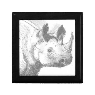 Bosquejo del dibujo de lápiz del rinoceronte del r caja de recuerdo