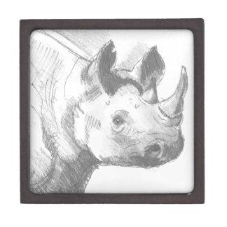 Bosquejo del dibujo de lápiz del rinoceronte del r cajas de joyas de calidad