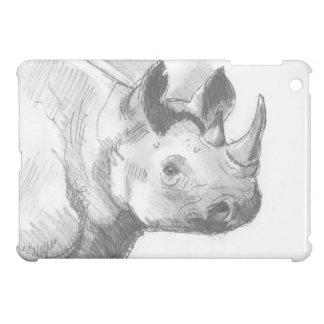 Bosquejo del dibujo de lápiz del rinoceronte del r iPad mini cobertura