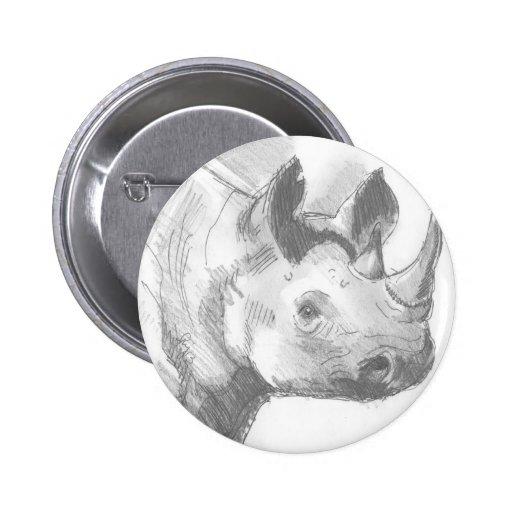 Bosquejo del dibujo de lápiz del rinoceronte del r pin redondo 5 cm