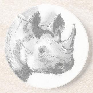 Bosquejo del dibujo de lápiz del rinoceronte del r posavasos cerveza