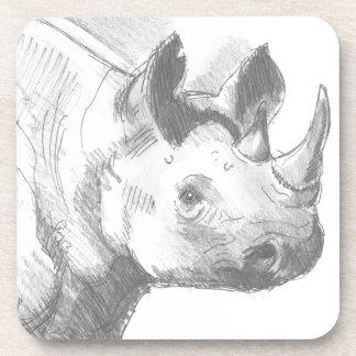 Bosquejo del dibujo de lápiz del rinoceronte del r posavasos de bebida