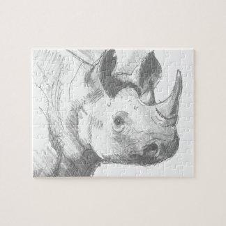 Bosquejo del dibujo de lápiz del rinoceronte del r puzzle