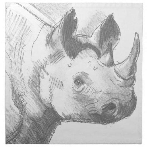 Bosquejo del dibujo de lápiz del rinoceronte del r servilletas