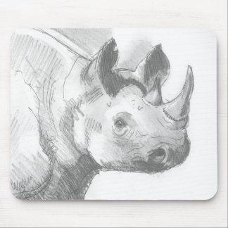 Bosquejo del dibujo de lápiz del rinoceronte del r tapete de ratón