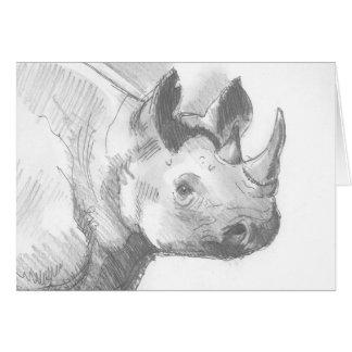 Bosquejo del dibujo de lápiz del rinoceronte del r tarjeta