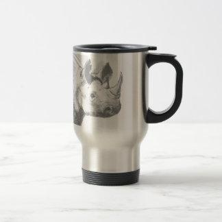 Bosquejo del dibujo de lápiz del rinoceronte del taza de viaje de acero inoxidable
