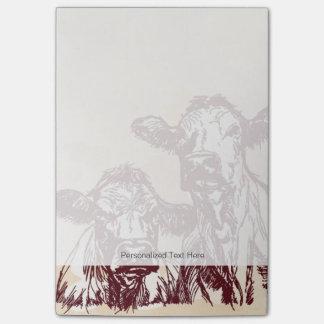 Bosquejo del drenaje de la mano de dos vacas y post-it® notas