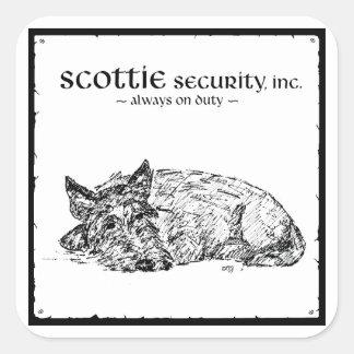 ¿Bosquejo del escocés - seguridad? Pegatina Cuadrada
