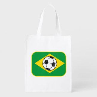Bosquejo del fútbol de la bandera el | del Brasil Bolsa Para La Compra