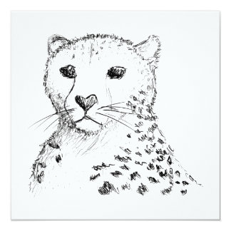 """Bosquejo del guepardo invitación 5.25"""" x 5.25"""""""