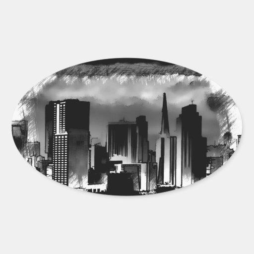 Bosquejo del horizonte de Chicago en blanco y Pegatina Ovalada