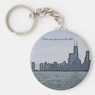 Bosquejo del horizonte magnífico de Chicago Llavero Redondo Tipo Pin