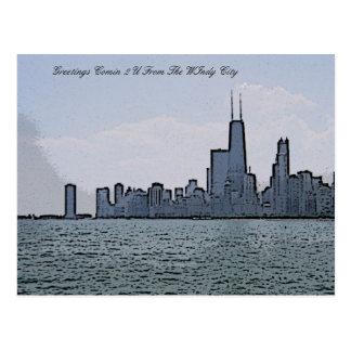 Bosquejo del horizonte magnífico de Chicago Tarjeta Postal