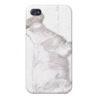 bosquejo del lápiz de las ovejas que camina iPhone 4 protectores