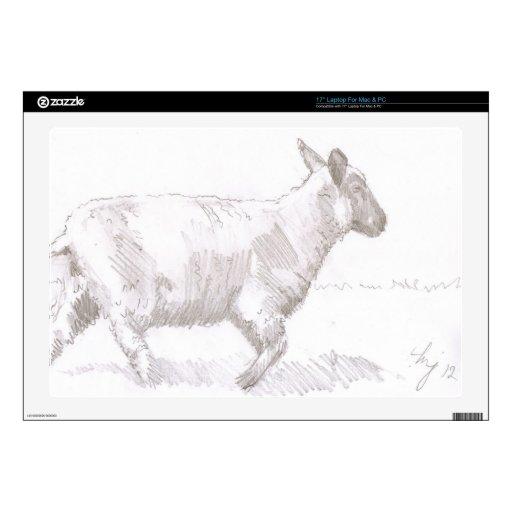 bosquejo del lápiz de las ovejas que camina 43,2cm portátil calcomanía