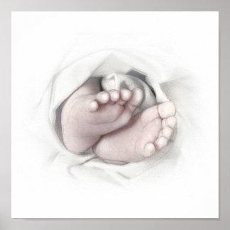 Bosquejo del lápiz de los pies del bebé posters