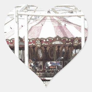 Bosquejo del lápiz del color del carrusel antiguo calcomanía corazón personalizadas