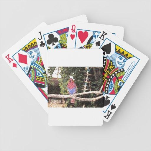Bosquejo del lápiz del loro rojo y azul barajas de cartas
