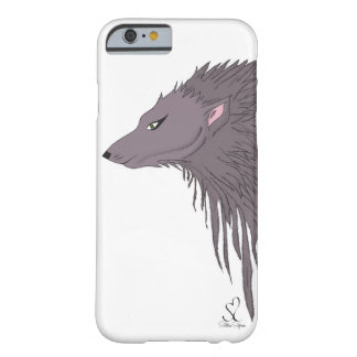 Bosquejo del lobo gris funda para iPhone 6 barely there