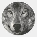 Bosquejo del lobo pegatina redonda
