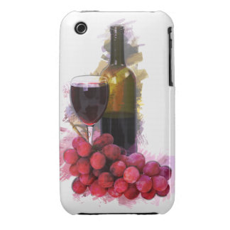 Bosquejo del marcador, copa de vino, botella, uvas funda para iPhone 3