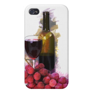 Bosquejo del marcador, copa de vino, botella, uvas iPhone 4/4S carcasas