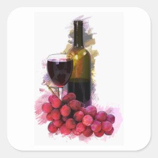 Bosquejo del marcador, copa de vino, botella, uvas pegatina cuadrada