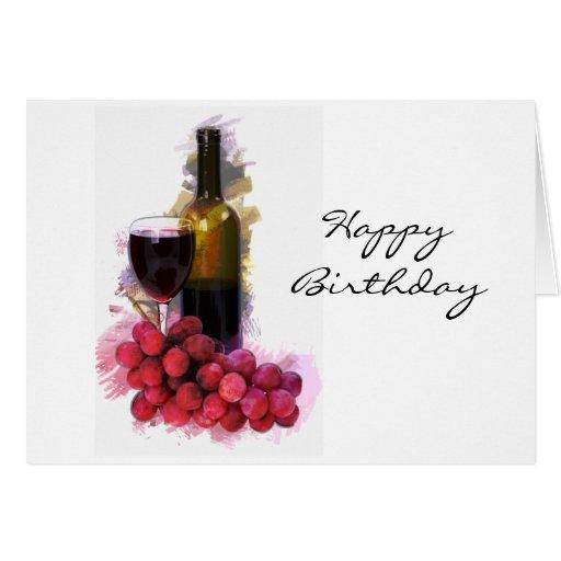 Bosquejo del marcador, copa de vino, botella, uvas tarjeta de felicitación