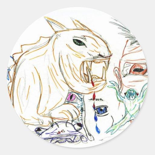 Bosquejo del marcador del monstruo, fantasía de la pegatina redonda