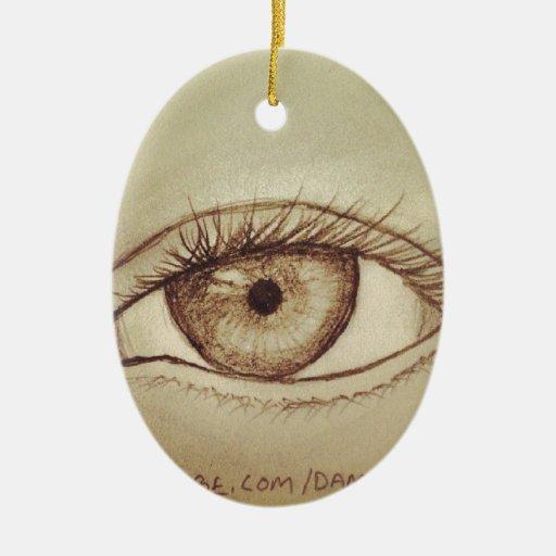 Bosquejo del ojo adorno navideño ovalado de cerámica