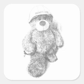 Bosquejo del oso de peluche del ingeniero pegatina cuadrada