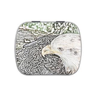bosquejo del pájaro del águila coloreado oblicuo latas de caramelos