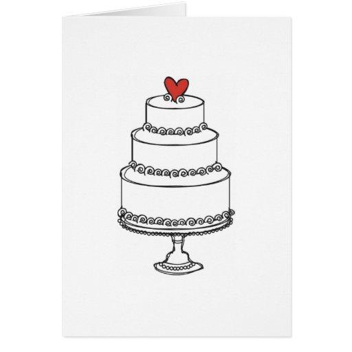 Bosquejo del pastel de bodas - llano tarjeta de felicitación