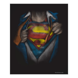 Bosquejo del pecho del superhombre póster