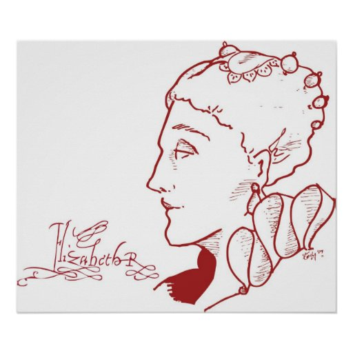 Bosquejo del perfil de Elizabeth I Poster