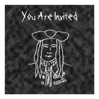 """Bosquejo del pirata. Blanco y negro. Invitación 5.25"""" X 5.25"""""""