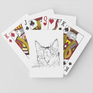 Bosquejo del retrato del gato negro cartas de juego