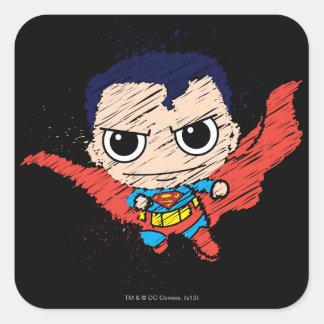 Bosquejo del superhombre de Chibi Calcomanías Cuadradass
