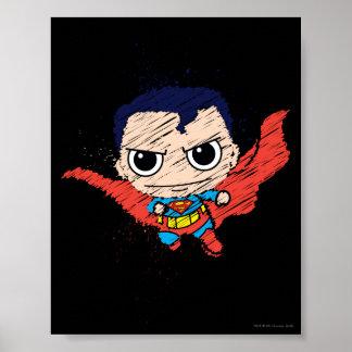 Bosquejo del superhombre de Chibi Póster