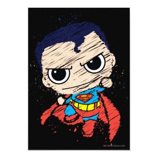 """Bosquejo del superhombre de Chibi - vuelo Invitación 5"""" X 7"""""""