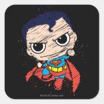 Bosquejo del superhombre de Chibi - vuelo Pegatina Cuadrada