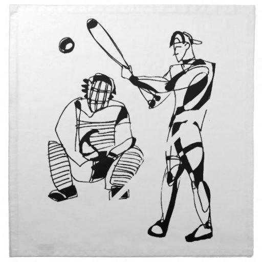 Bosquejo del talud del béisbol servilletas imprimidas